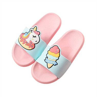 Kids Cartoon Slipper - Magical Unicorn Pink