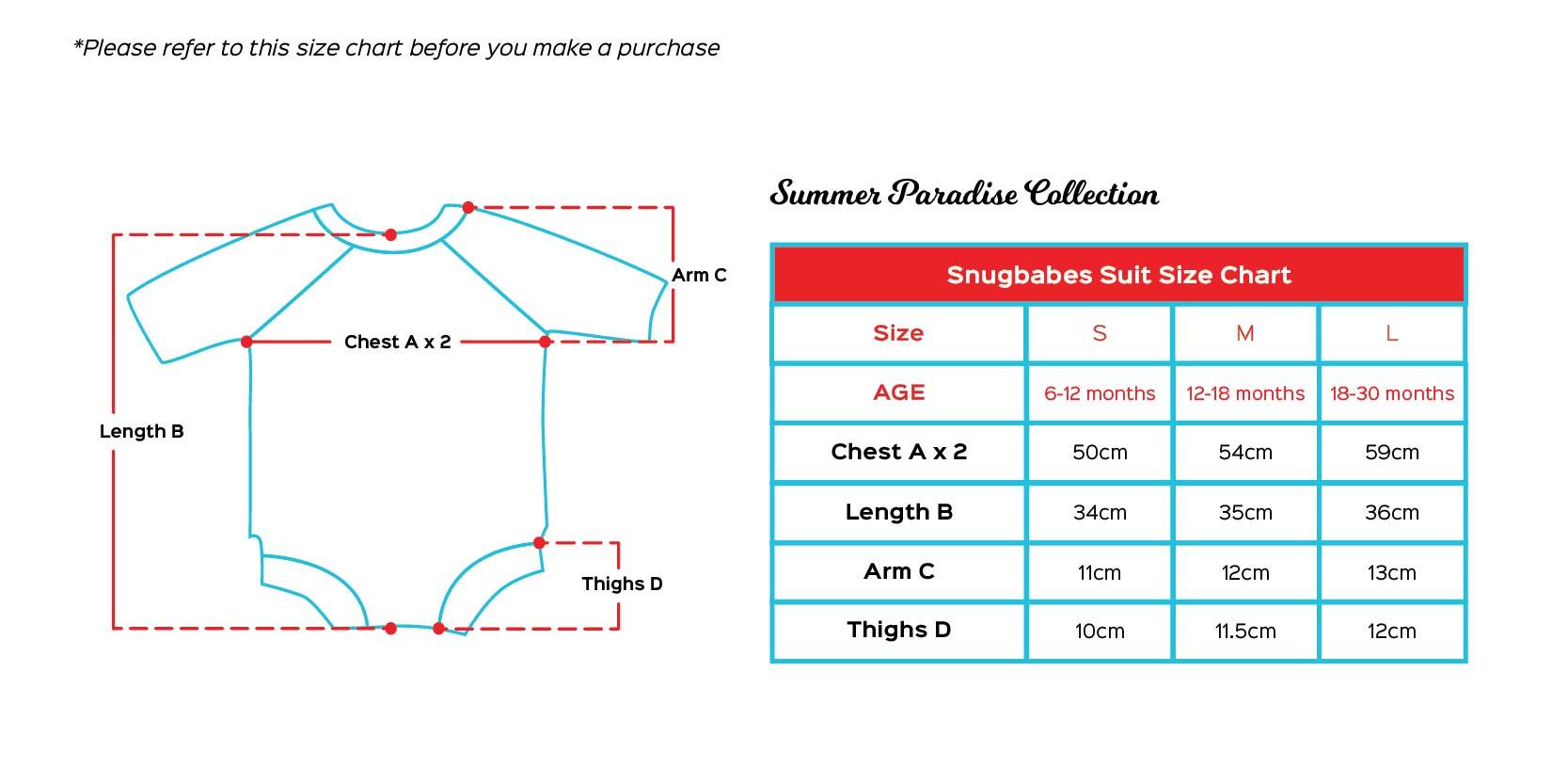 Snugbabes size chart